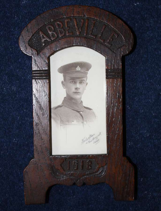 WW1 1918 Dated Oak Picture Frame: Inset RAMC Soldier Abbeville