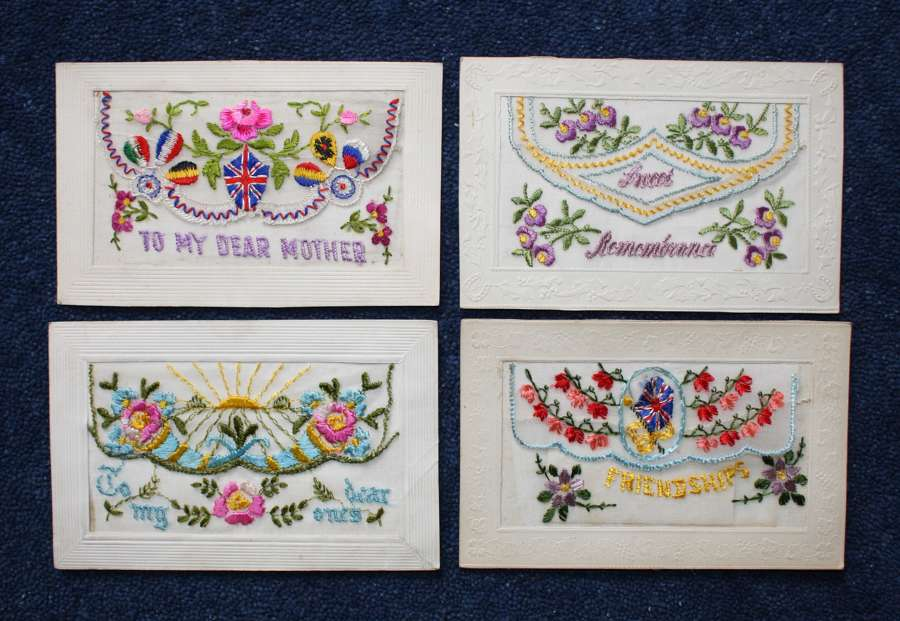 FOUR (4) EMBROIDERED WW1 SILK POSTCARDS