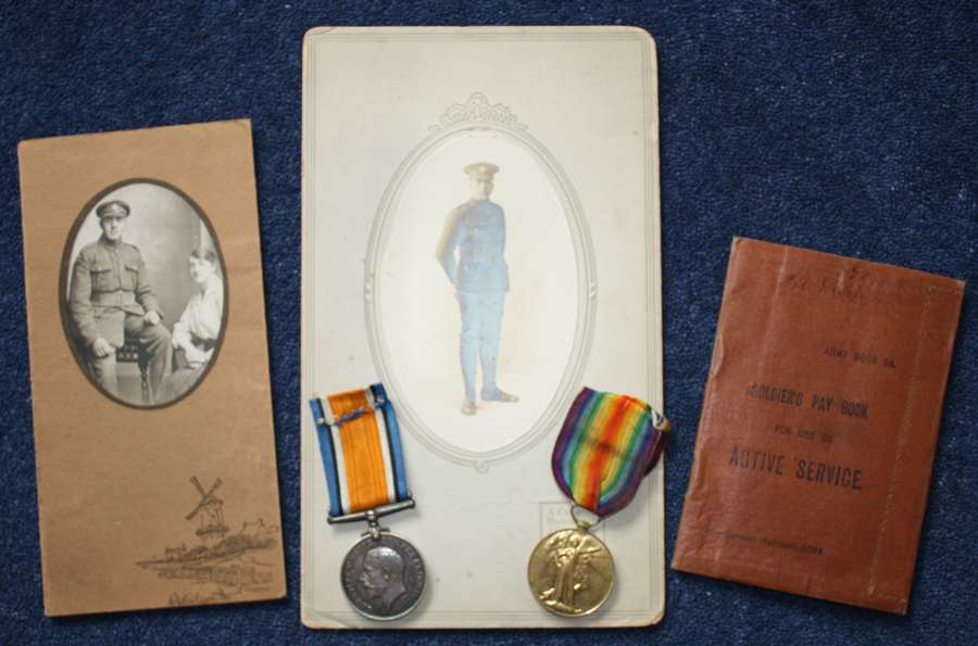 WW1 Medal Pair, Photographs & British Army Pay Book Loyal North Lancs