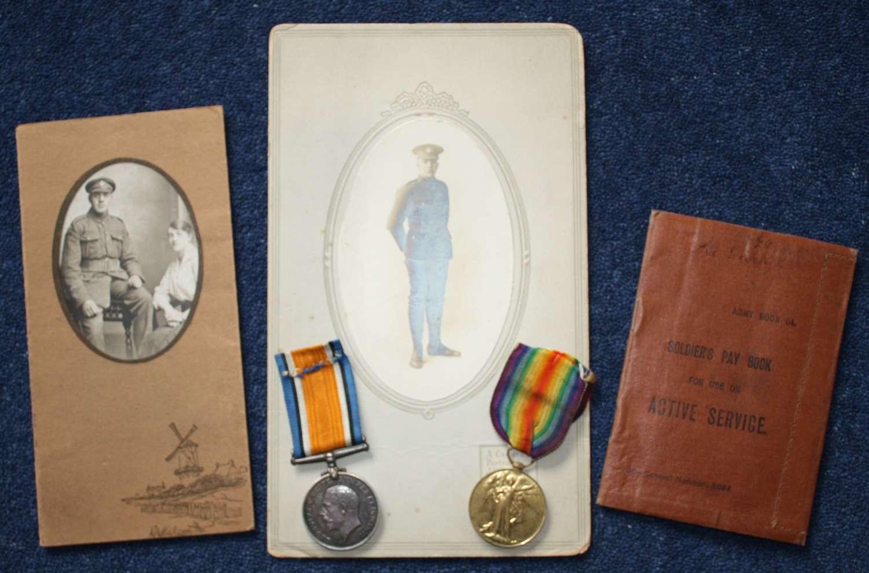 WW1 Medal Pair, Photographs & British Army Pay Book Loyal North Lancs