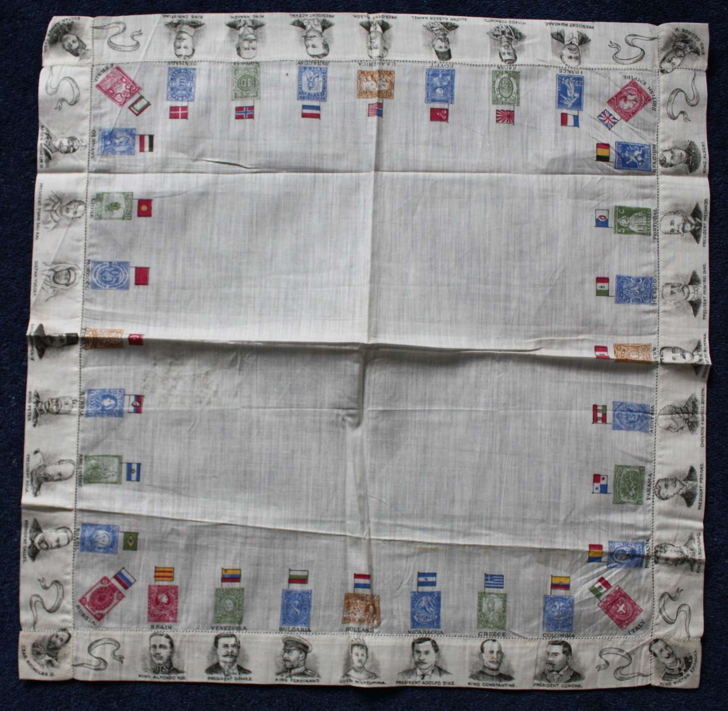 WW1 printed cotton souvenir handkerchief World leaders, flags & stamps