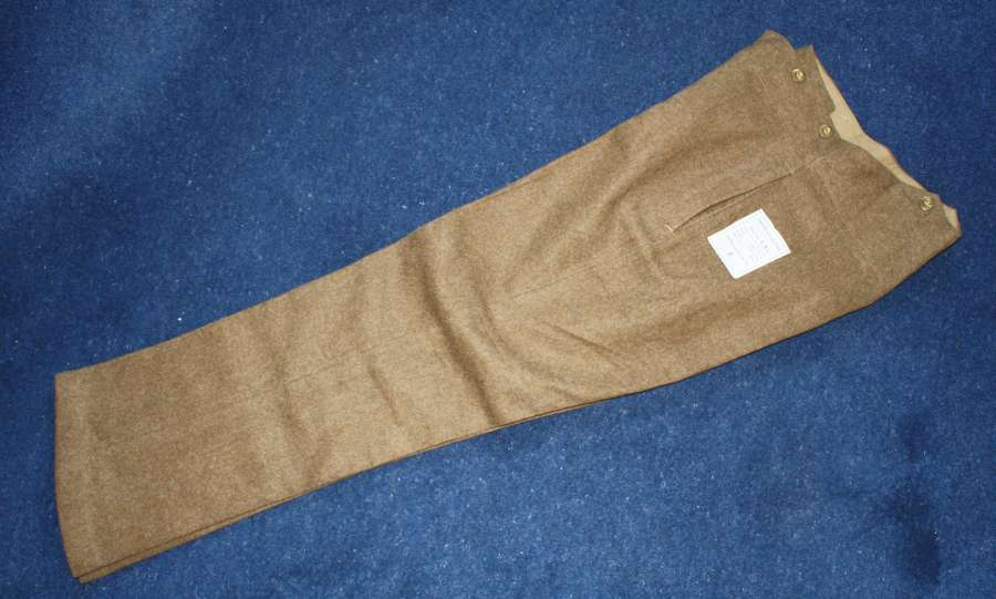 British Army Khaki Service Dress Trousers Pre WW2 1938 dated.