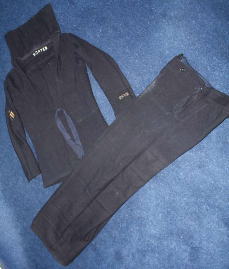 WW1 ROYAL NAVY RATINGS DARK BLUE BLOUSE & BELL BOTTOM TROUSERS