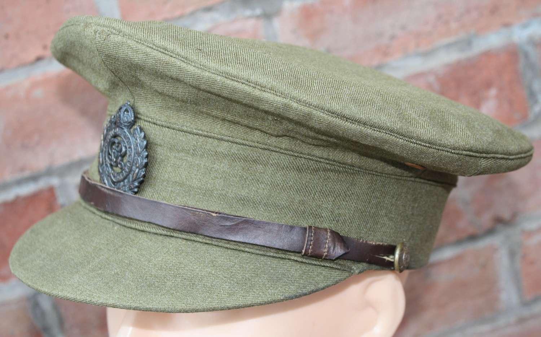 WW1 BRITISH ARMY ROYAL ENGINEERS OFFICERS KHAKI SERVICE DRESS CAP