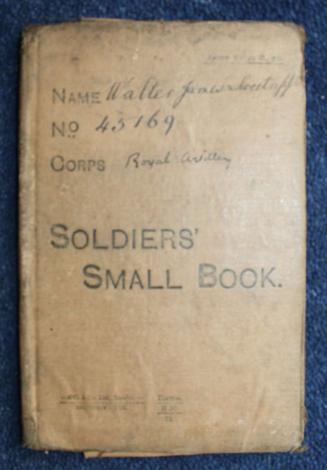 WW1 British Army Soldiers Small Book: Royal Garrison Artillery