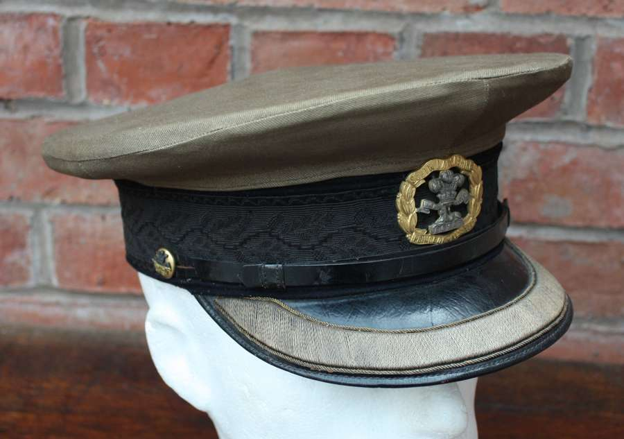 WW1 SOUTH LANCS SERVICE DRESS BRITISH OFFICERS CAP & KHAKI COVER