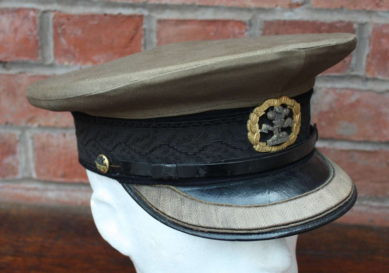 WW1 SOUTH LANCS SERVICE DRESS BRITISH OFFICERS CAP & KHAKI COVER