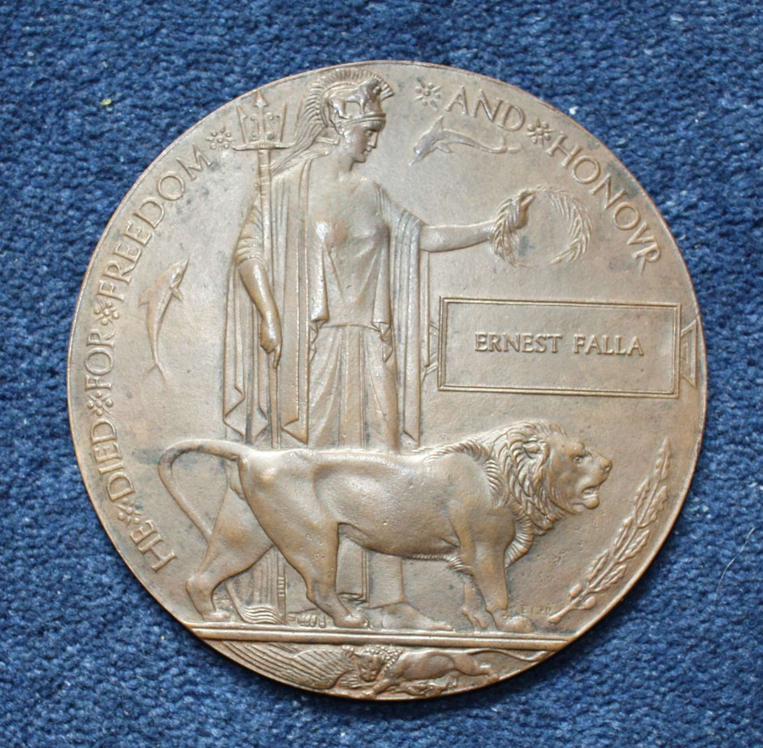 Death Plaque to Ernest Falla: Possible 1st Day of Somme Casualty