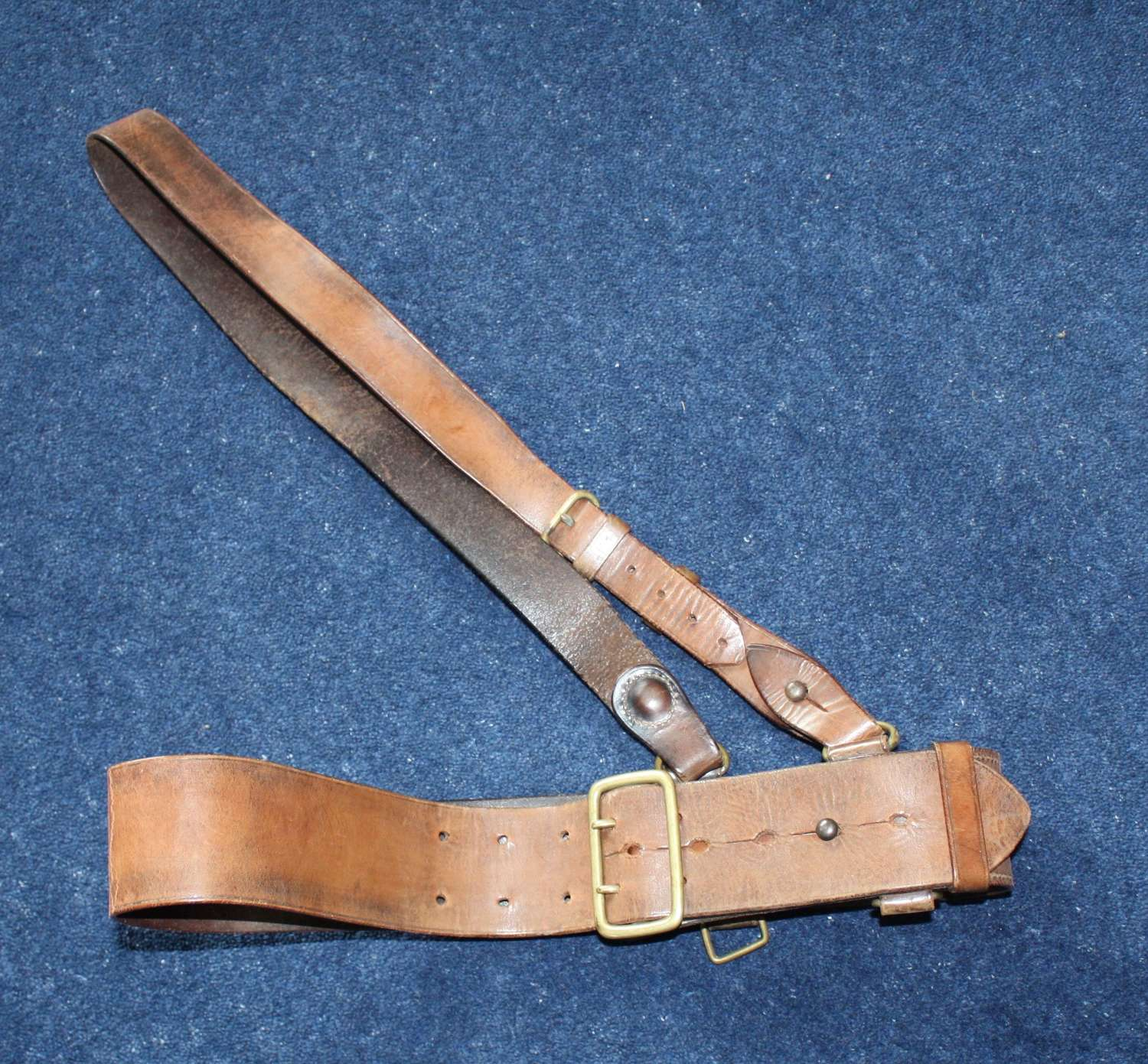 1917 DATED BRITISH ARMY OFFICERS LEATHER SAM BROWNE BELT