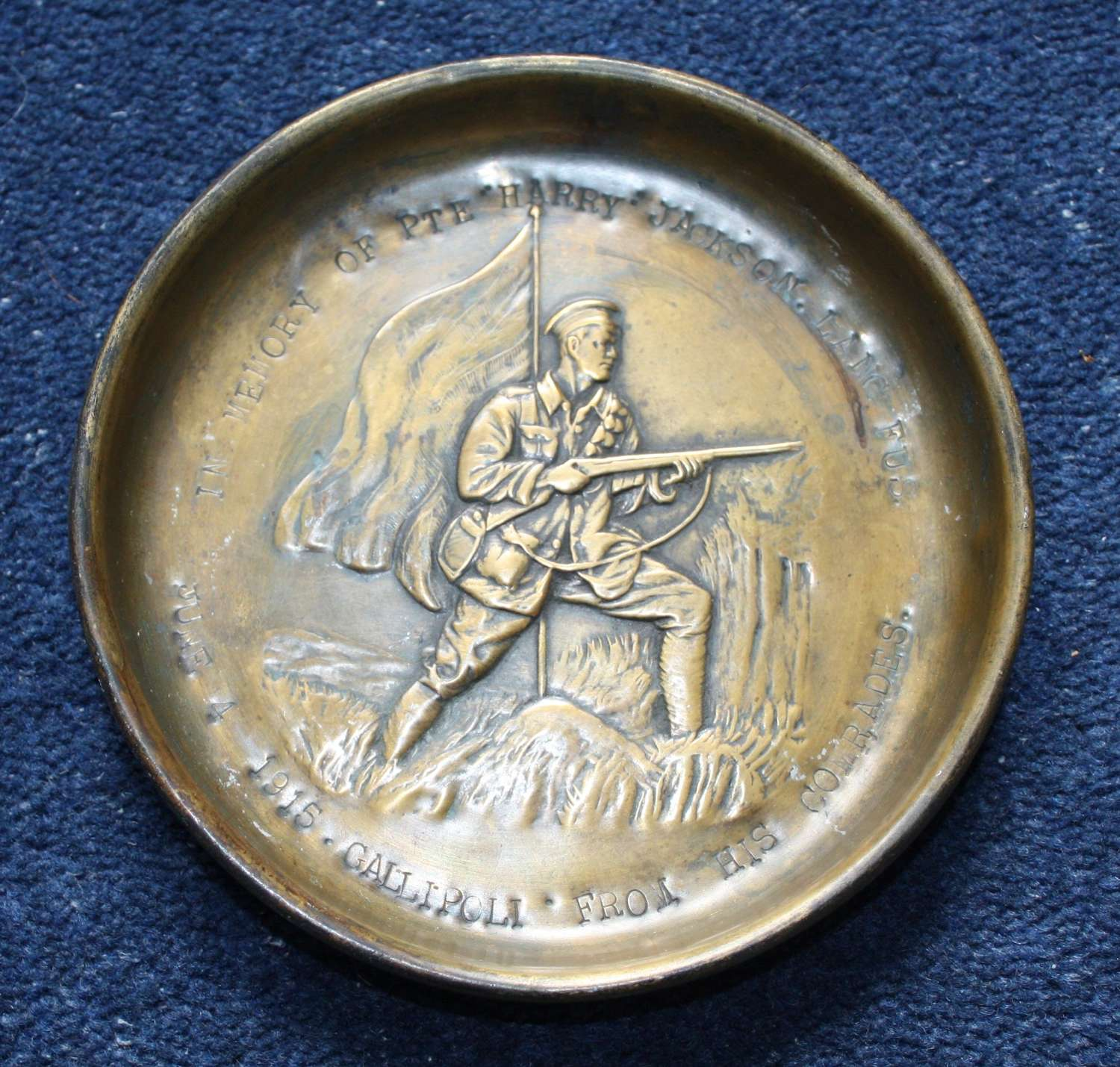 UNUSUAL GALLIPOLI LANCASHIRE FUSILIERS CASUALTY REMEMBRANCE DISH