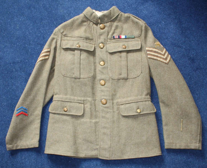 ORIGINAL WW1 BRITISH OTHER RANKS SERVICE DRESS KHAKI TUNIC ARTILLERY