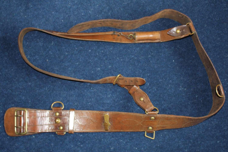 1915 Dated British Officer's Leather Sam Browne Belt