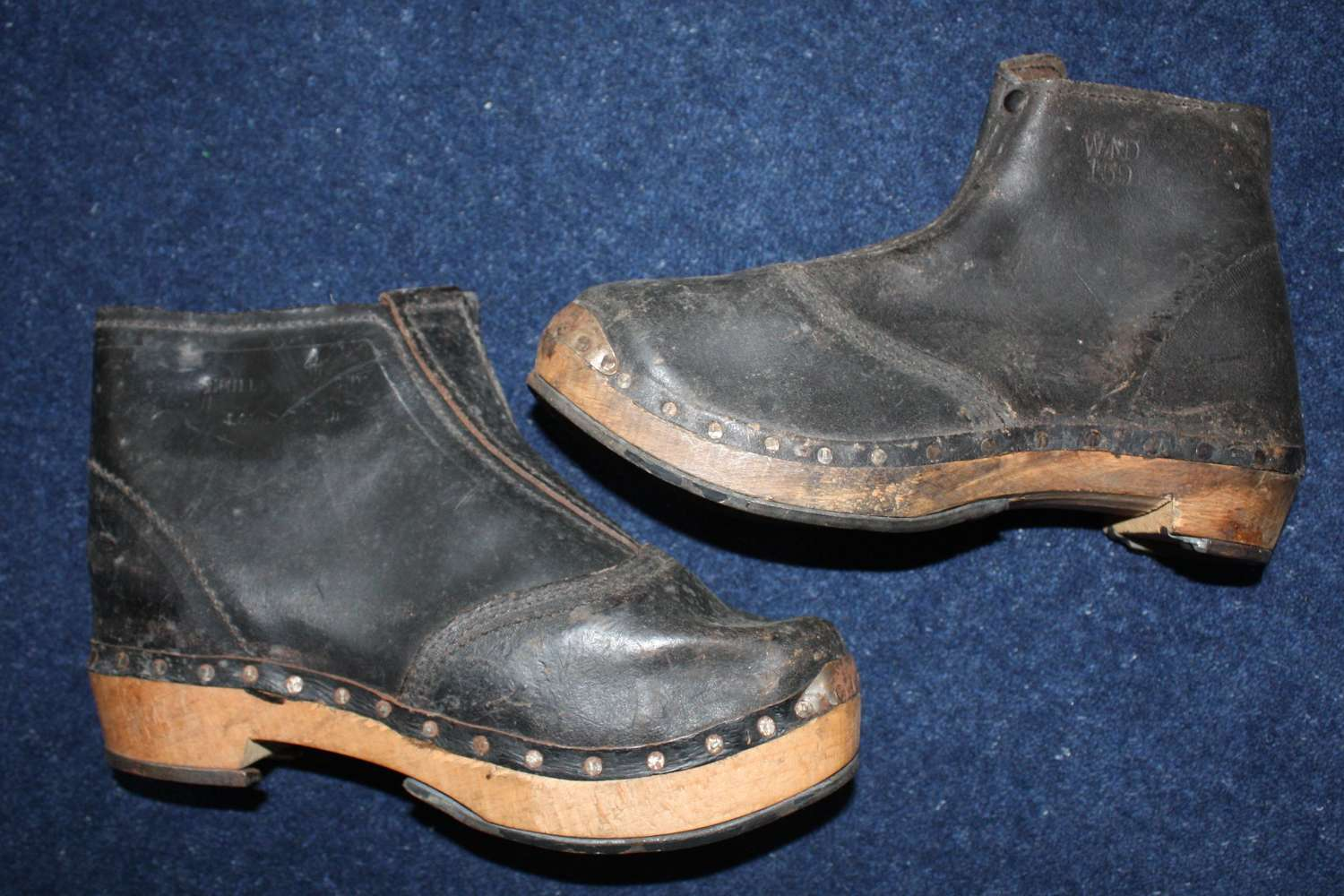 Rare unworn WW1 British Army pair of Miners clog boots.