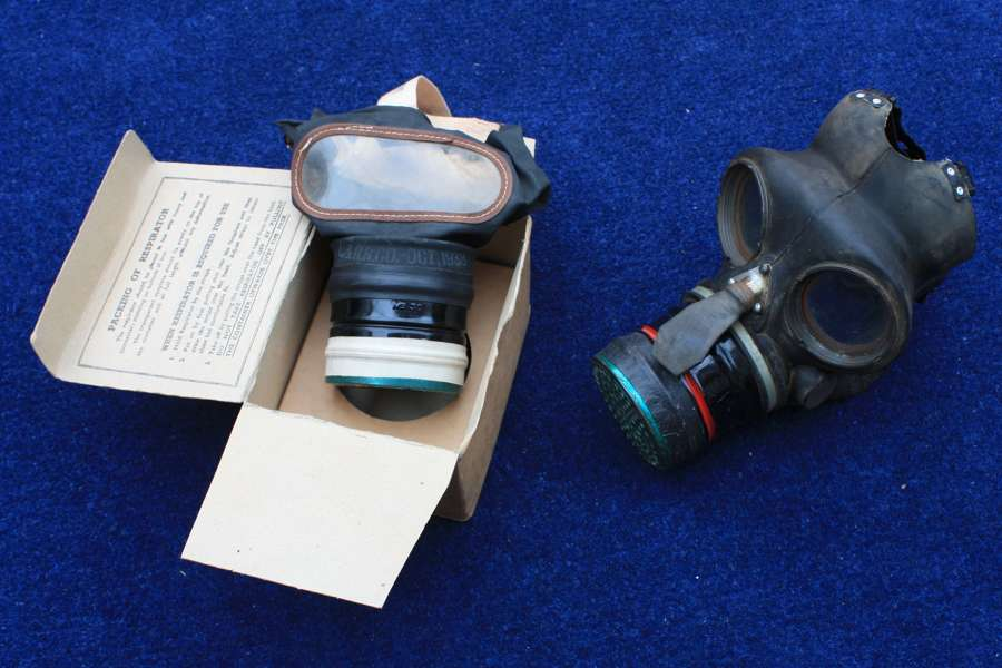 WW2 BRITISH HOME FRONT GAS MASK & ORIGINAL CARD BOX + ANOTHER GAS MASK