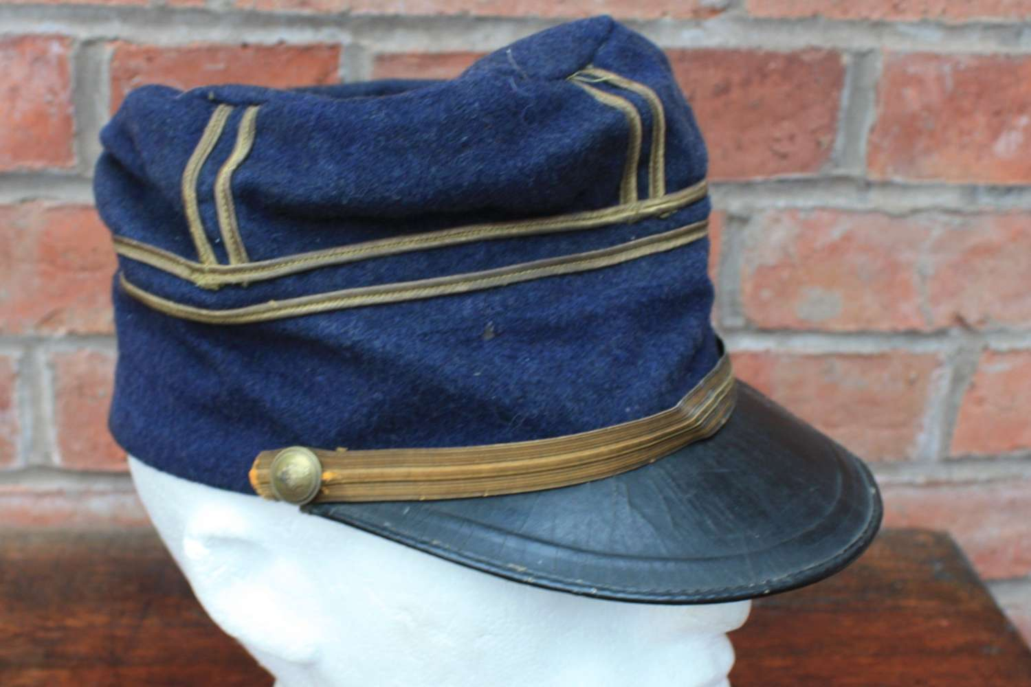 WW1 French Officers Blue Peaked Kepi / Cap with gold trim.