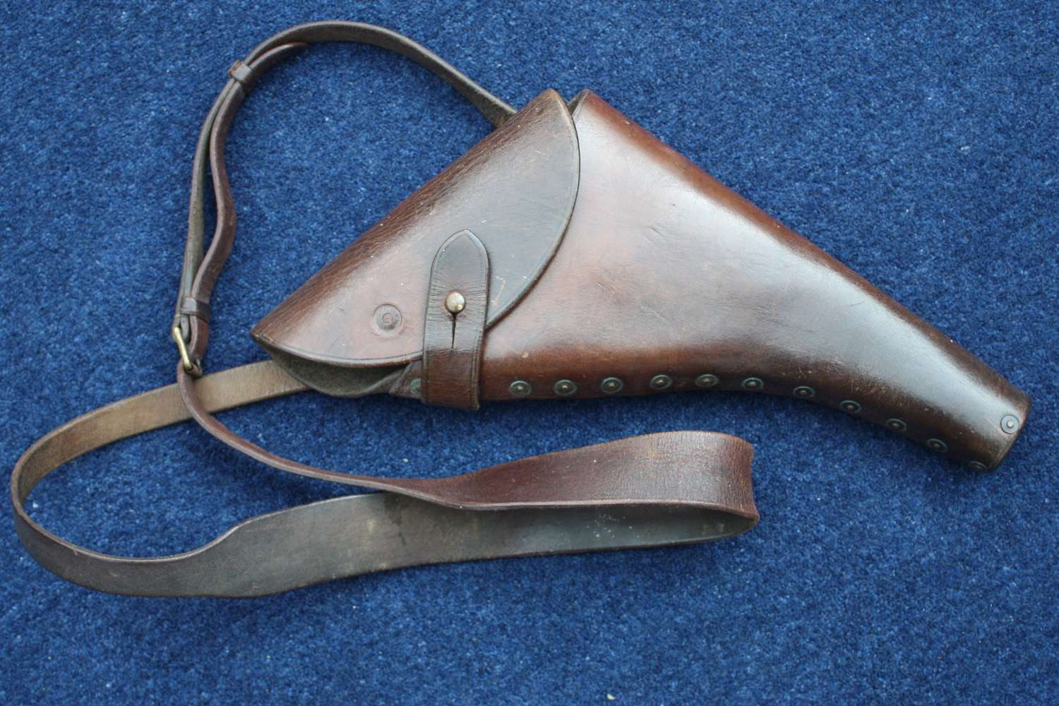 WW1 BRITISH ROYAL NAVY OFFICERS LEATHER PISTOL HOLSTER & STRAP