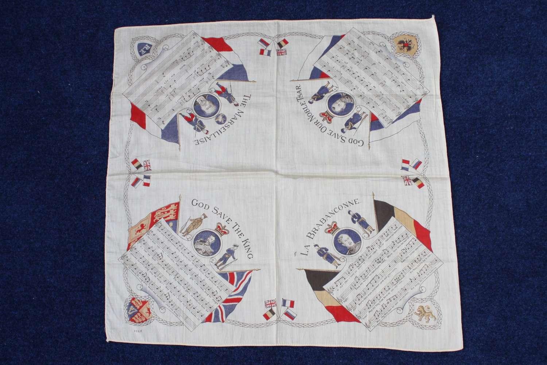 WW1 printed cotton souvenir handkerchief: National Anthems.