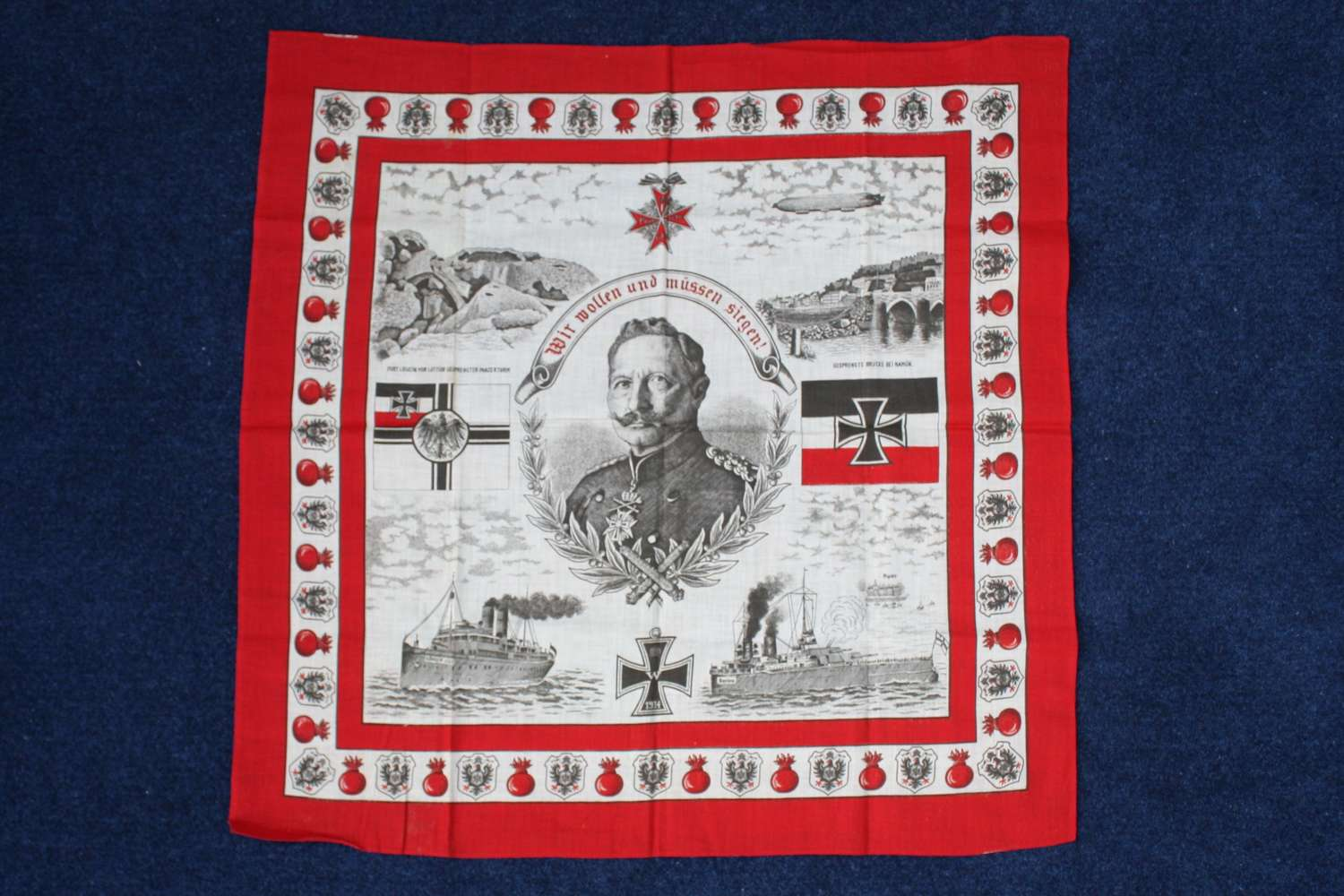 Rare German WW1 Patriotic Kaiser Cotton Handkerchief