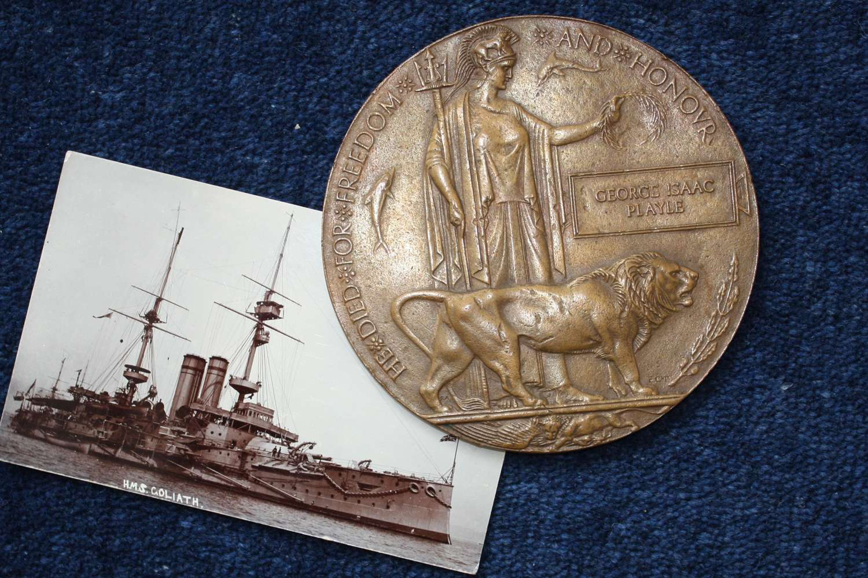 WW1 Naval Death Plaque: HMS Goliath, Gallipoli George Isaac Playle