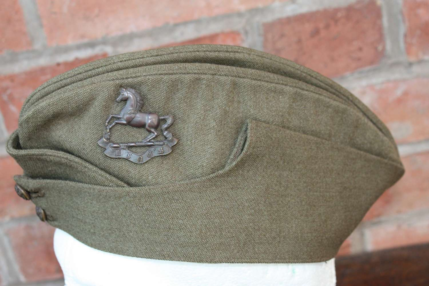 WW2 Kings Regiment British Army Officers Khaki Side Cap & Bronze badge