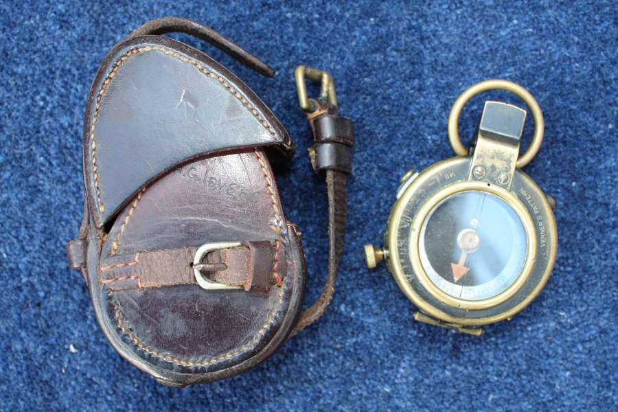WW1 British Army Officers 1918 Dated Compass & 1918 Dated Leather Case
