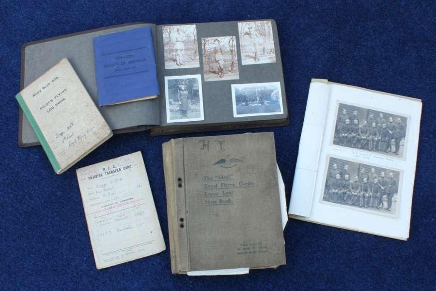 WW1 RFC/ RAF PILOT'S FULL SET OF DOCUMENTS, FLYING LOG BOOK ETC