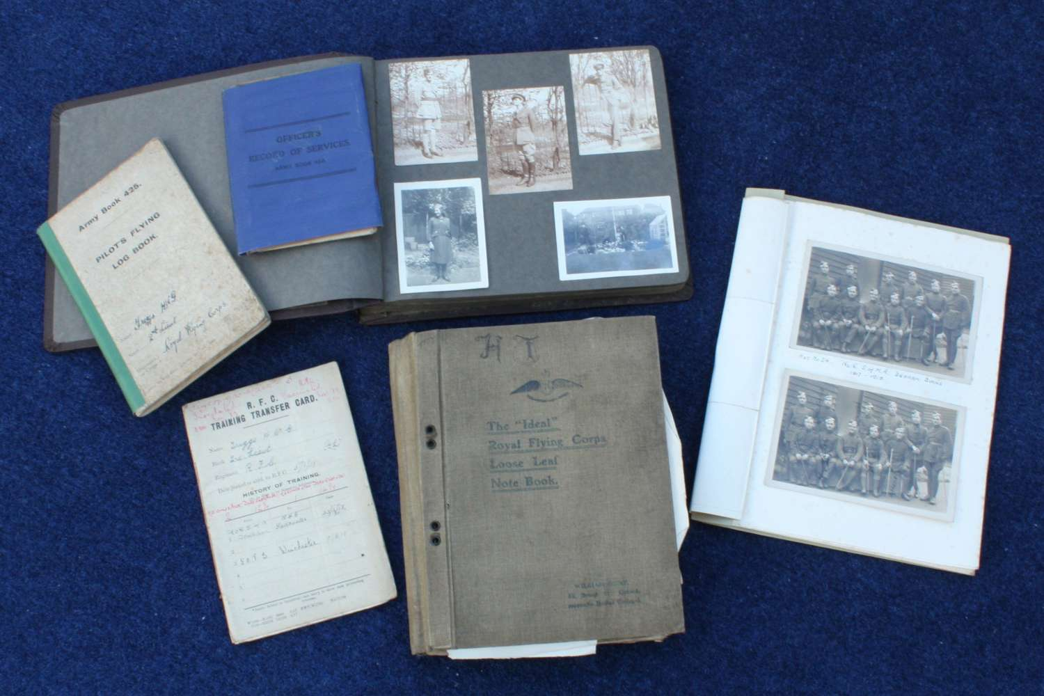 WW1 RFC/ RAF PILOT'S FULL SET OF DOCUMENTS, FLYING LOG BOOK ETC