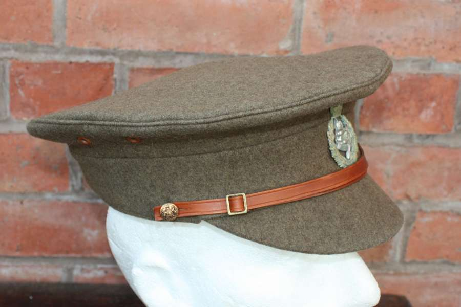 BRITISH WW1 1905 PATT OTHER RANKS KHAKI SERVICE DRESS CAP. SIZE 73/8