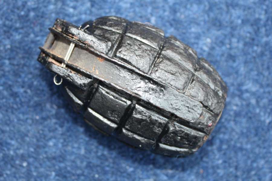British WW1 Mills Bomb Grenade inert with lever & base cap 1915
