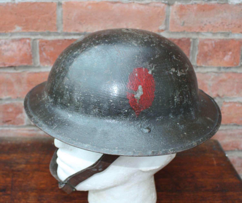 WW1 British Brodie Steel Helmet. HS 434. Painted unit flash.