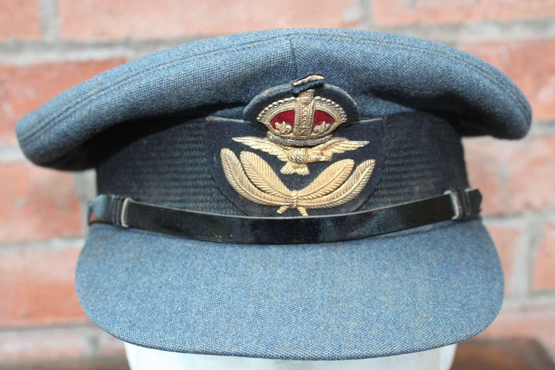 Excellent RAF Officers peak cap 1944 War Department issue stamp