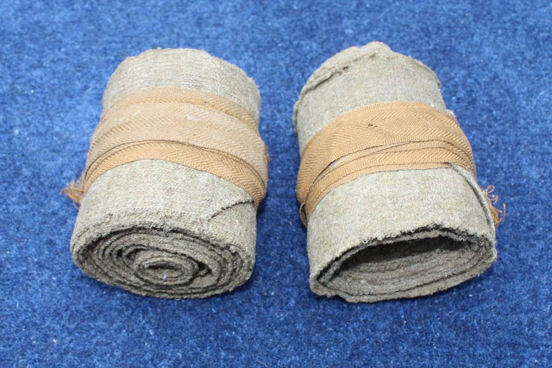 WW1 BRITISH OTHER RANKS KHAKI PUTTEES 10 FEET LONG MATCHING PAIR