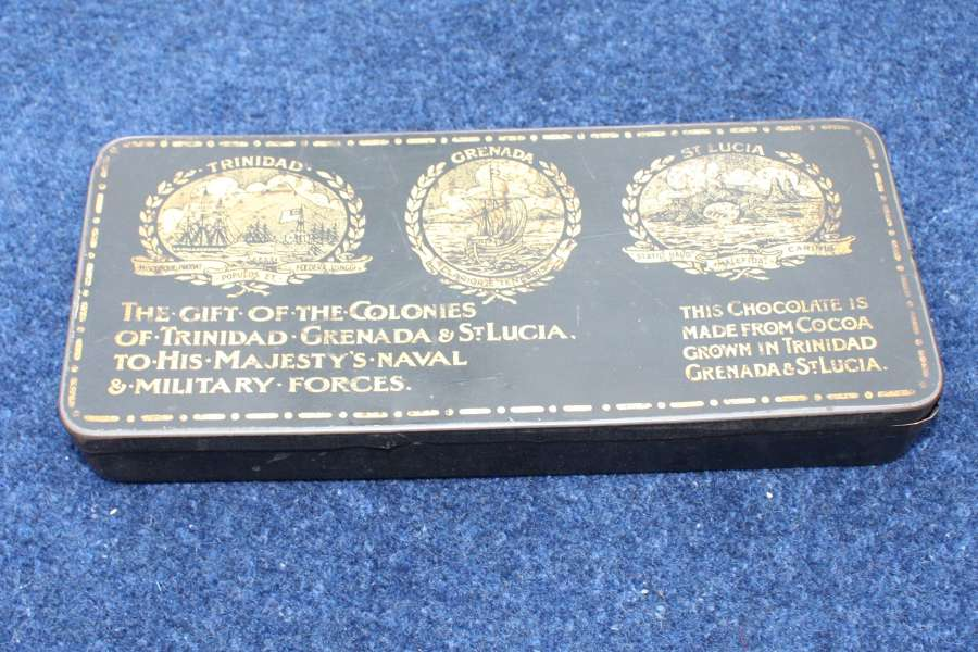 WW1 Chocolate tin: Gift from Colonies of Trinidad, Grenada & St Lucia