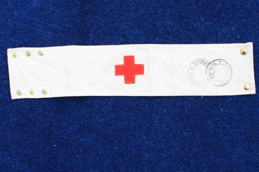 WW1 British Army Medical Service Red Cross armband embroidered cross