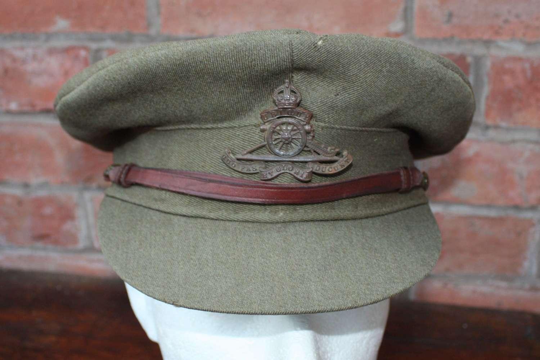 WW1 BRITISH OFFICERS FLOPPY STYLE KHAKI CAP: ROYAL ARTILLERY