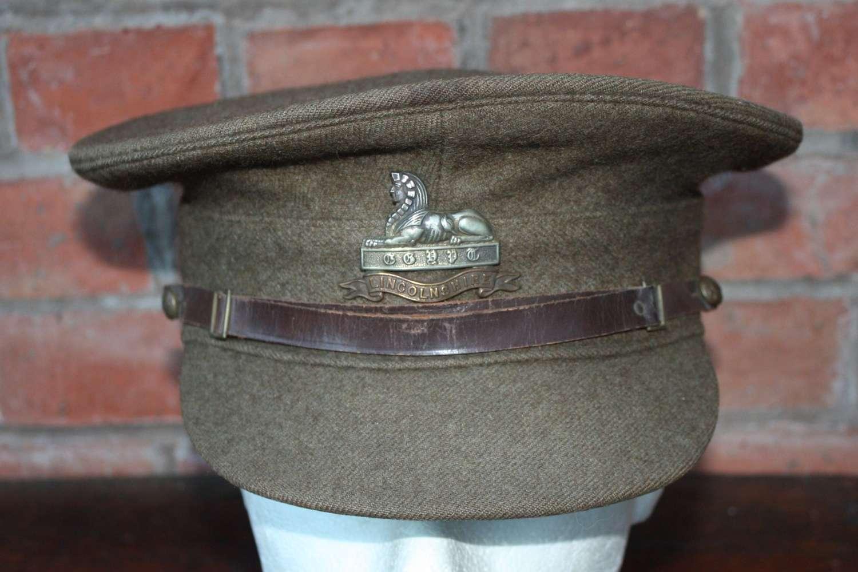 1922 PATTERN BRITISH KHAKI SERVICE DRESS CAP THE LINCOLNSHIRE REGIMENT