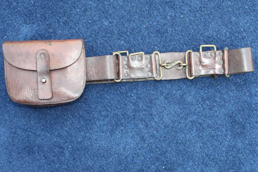 BOER WAR IMPERIAL VOLUNTEERS BRITISH ARMY WAIST BELT & AMMO POUCH