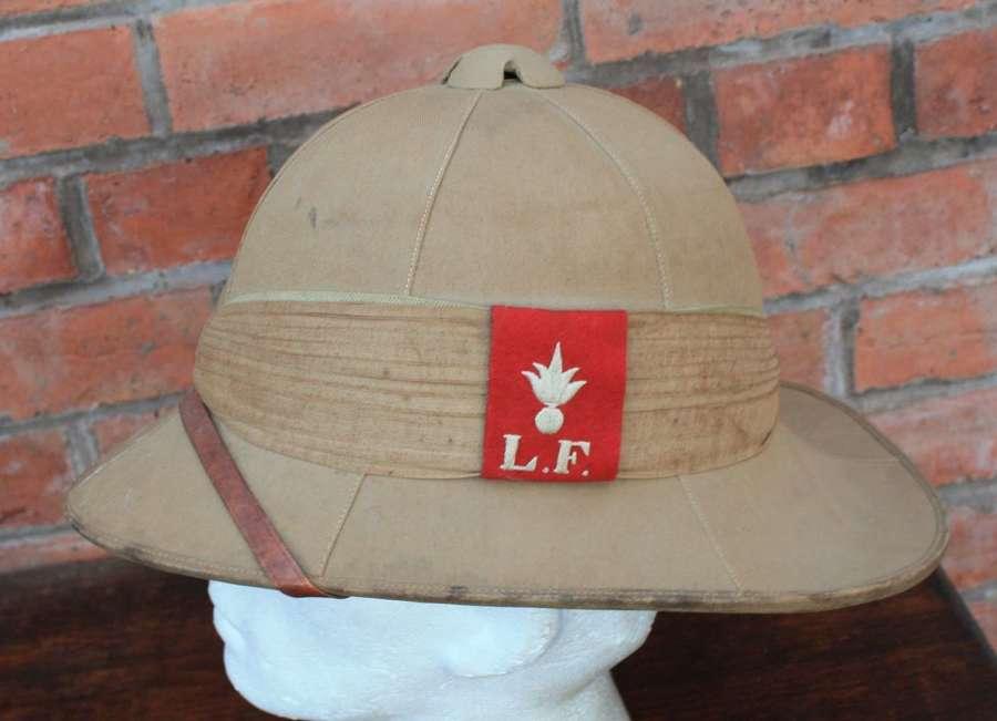 WW1 British O/R Khaki Drill Pith Helmet to the Lancashire Fusiliers