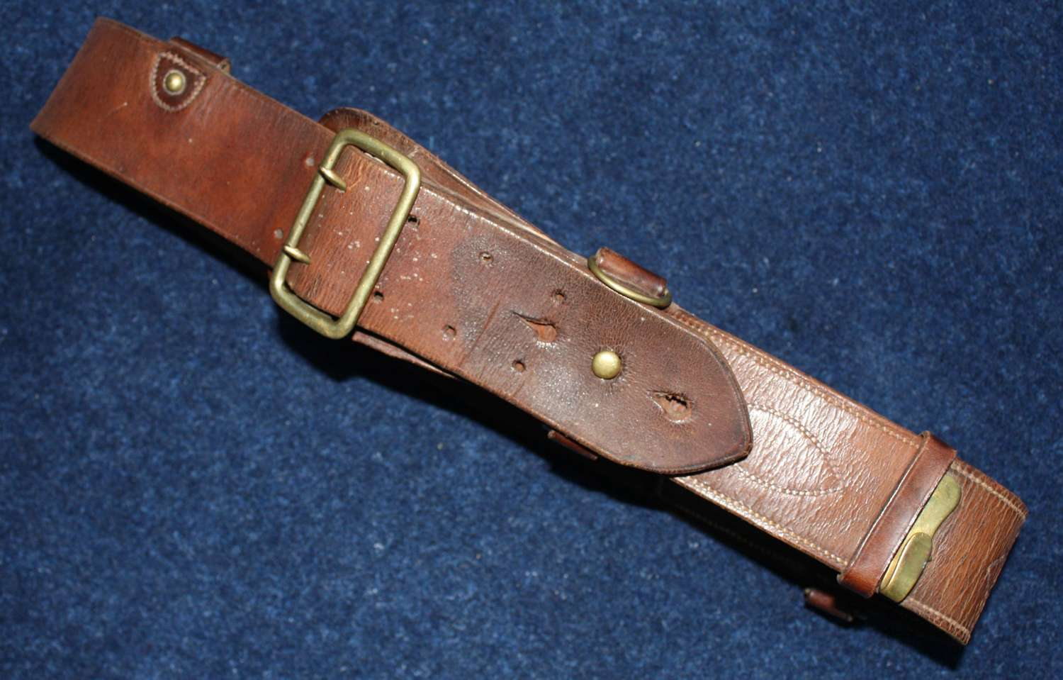 1917 DATED BRITISH ARMY OFFICER LEATHER SAM BROWNE BELT