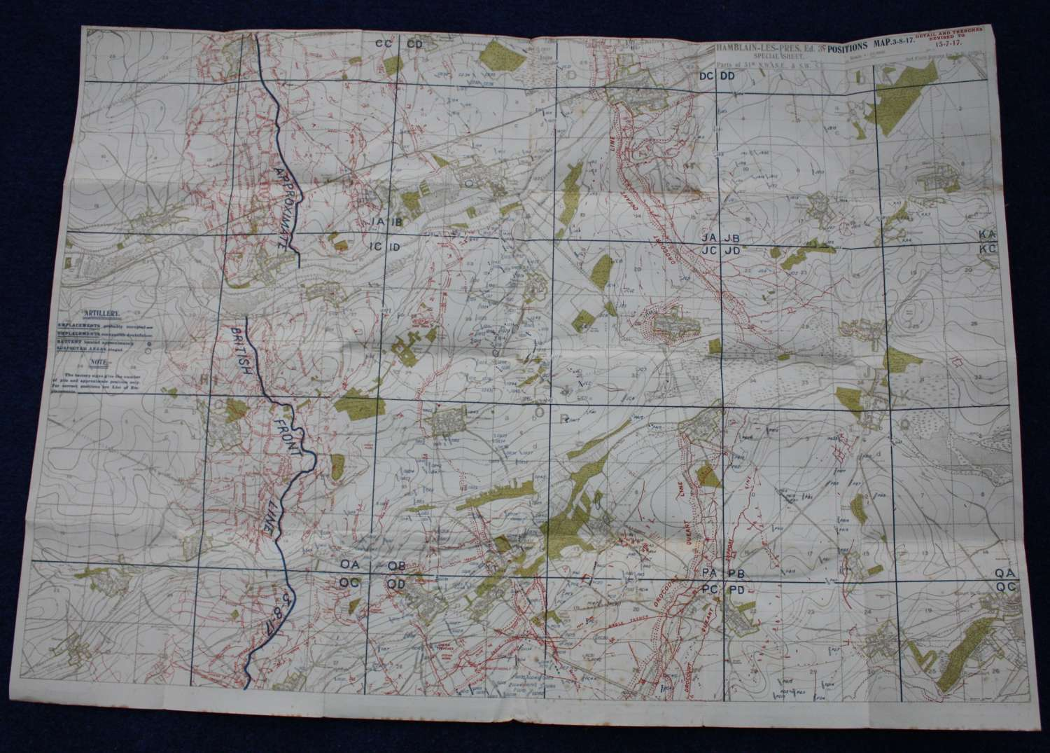 WW1 British Army Trench Map France: 51B. July 1917. Scale 1:20,000