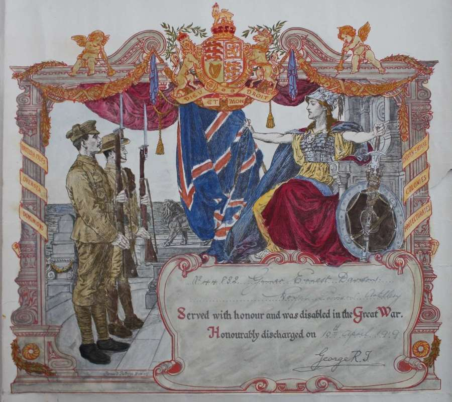 WW1 British Army Discharge Certificate. Royal Garrison Artillery