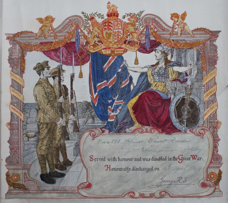 WW1 British Army Discharge Certificate. Royal Garrison Artillery