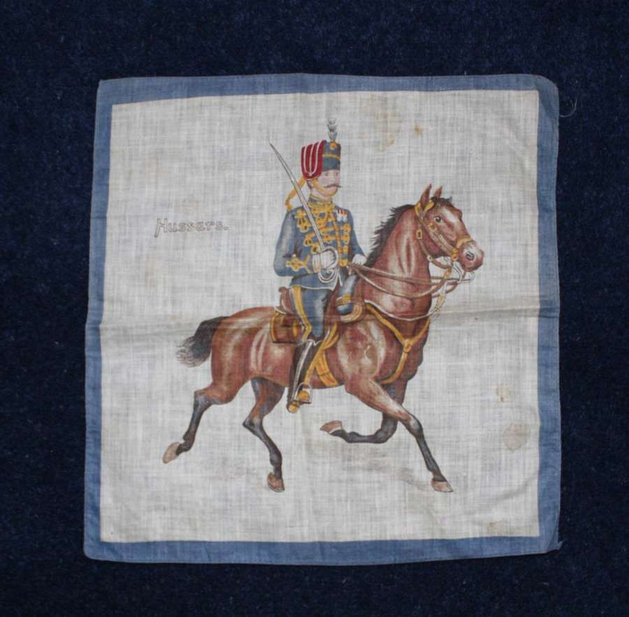 Late Victorian printed cotton souvenir handkerchief of An Hussar