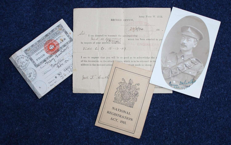 WW1 Photograph of Gunner Cuthbert RGA & Paperwork / Documents