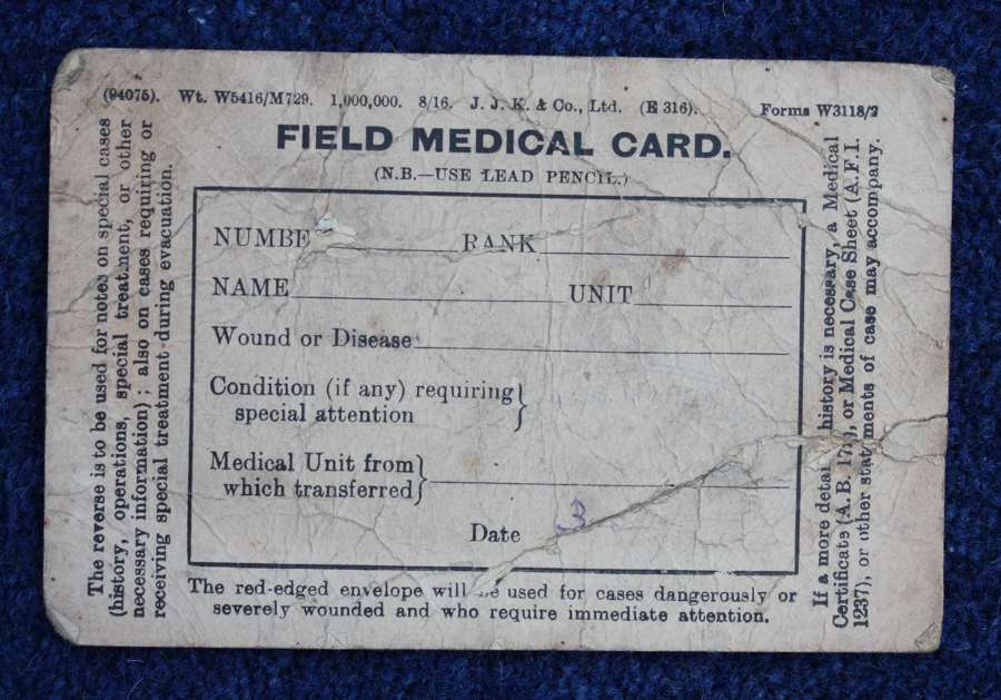 Rare British WW1 Field Medical Card dated 1917.