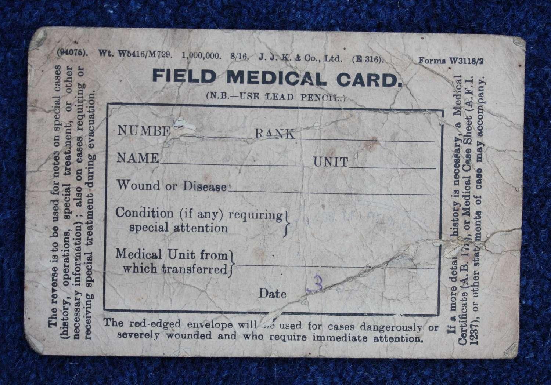 Rare British WW1 Field Medical Card dated 1917.