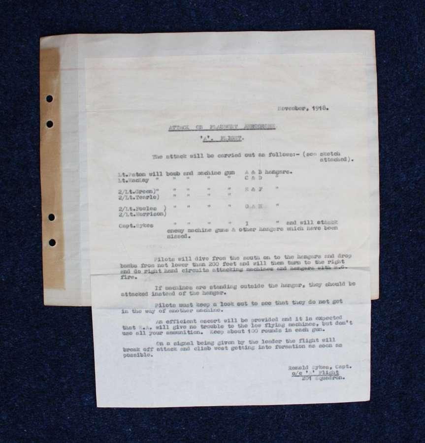 WW1 201 Squadron RAF November 1918 Pre Flight Combat Mission Details