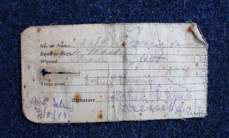 Rare WW1 British Army Wound Card attached to Uniform.