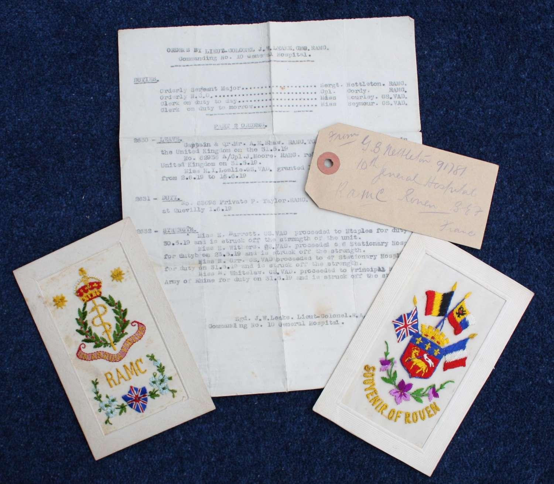 WW1 R.A.M.C. Number 10 General Hospital & Serg. Nettleton Silk Cards