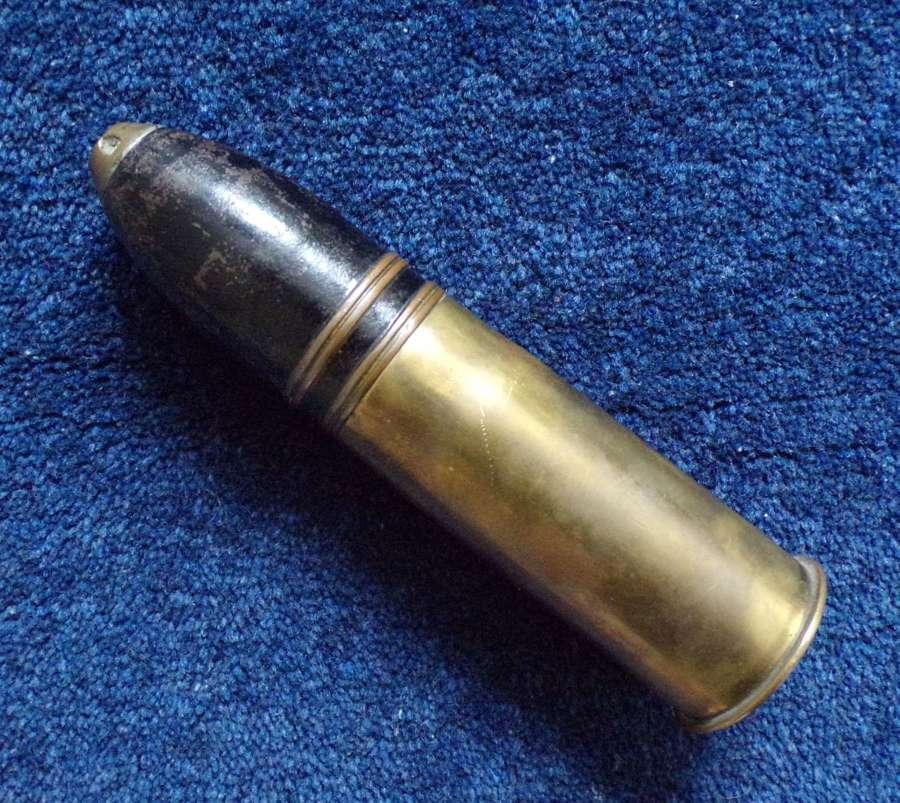 WW1 37mm inert brass cartridge and shell dated 1916